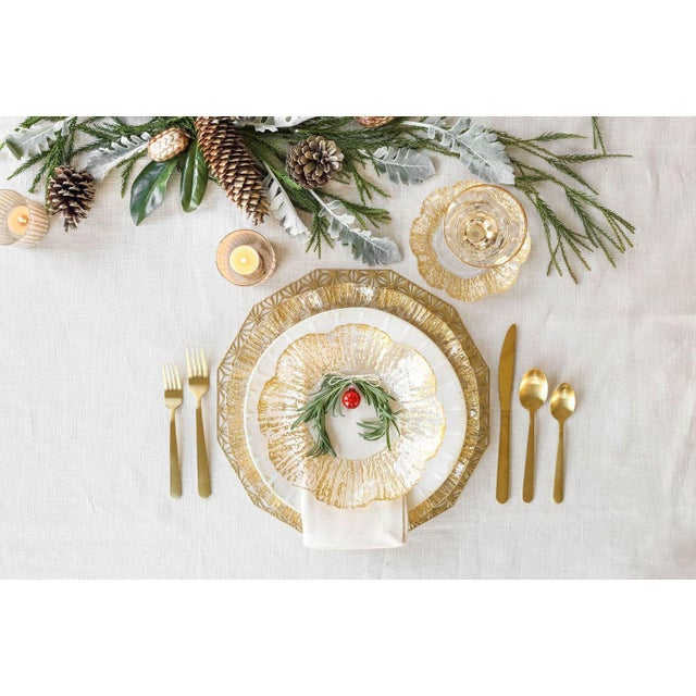 The Rufolo Gold Rim Salad Plate A romantic ruffle of gold encircles Rufolo Glass Gold Salad Plate. Perfect for salad's,...