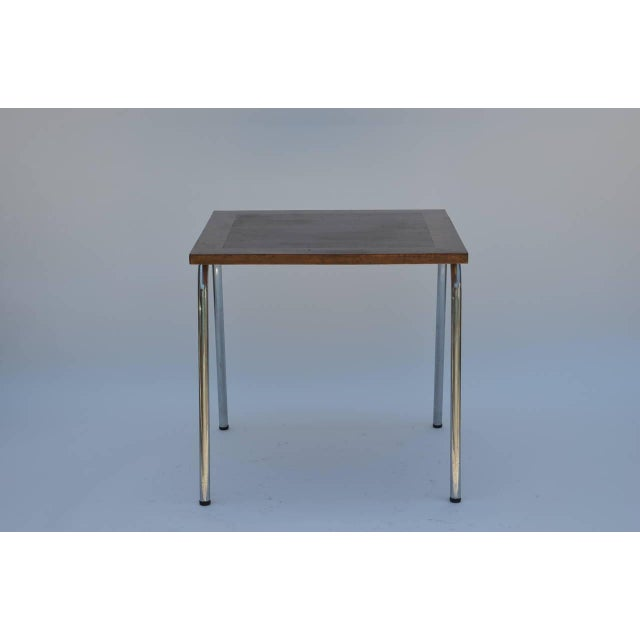 Set of Four French Modernist Square Chrome and Mahogany Tables For Sale In Los Angeles - Image 6 of 6