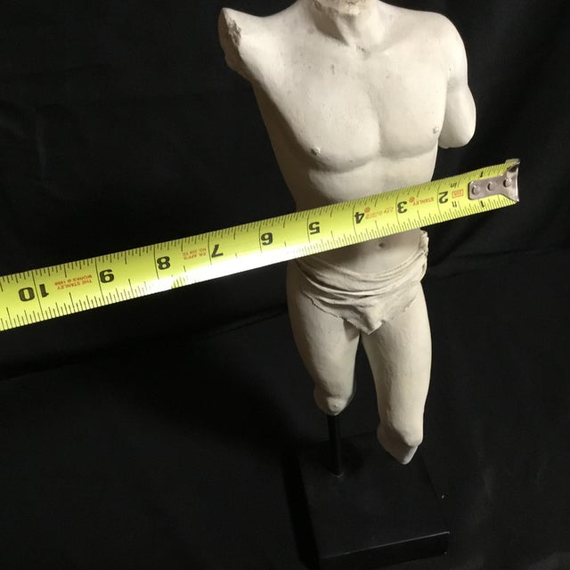 Metal Headless Armless Feetless White Plaster Male With Loin Cloth Greek Statue For Sale - Image 7 of 8