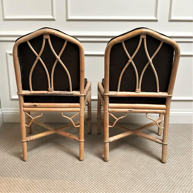 Rattan 1960s Chinoiserie Rattan Dining Table & Chairs - 5 Pieces For Sale - Image 7 of 13
