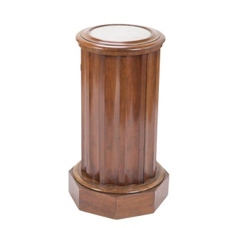 An Octagonal Base Mahogany Side Cabinet With Round Inset Marble Top For Sale