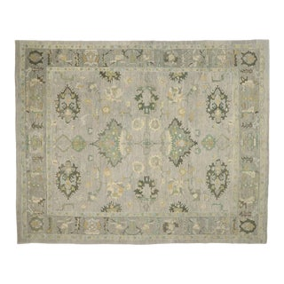 Contemporary Turkish Oushak Rug - 12'04 X 15'04 For Sale