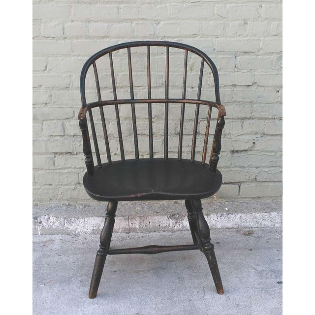 18th Century Original Green Extended-Arm Windsor Chair - Image 3 of 10
