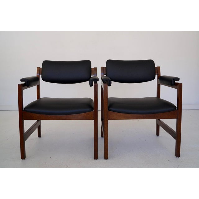 Mid-Century Modern Mid-Century Walnut Arm Chairs - a Pair For Sale - Image 3 of 11