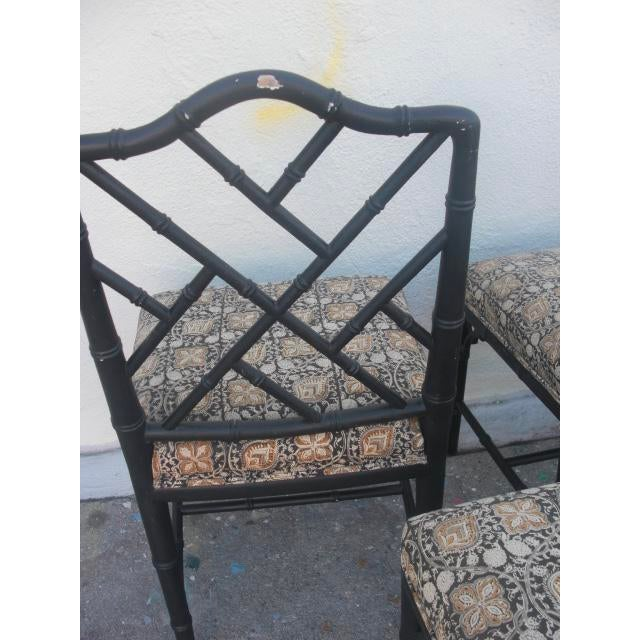 Brown Vintage Mid Century Faux Bamboo Chippendale Dining Chairs- Set of 6 For Sale - Image 8 of 11