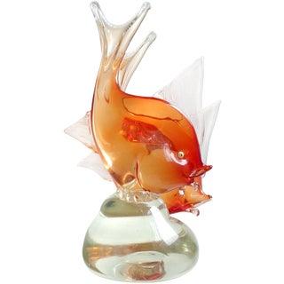 Dino Martens Murano Orange Sommerso Italian Art Glass Double Fish Sculpture For Sale