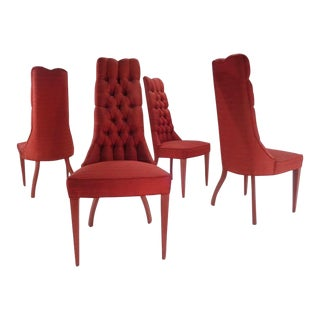 ZaSu Pitt's Red Tufted Hollywood Regency Glam Dining Chairs For Sale