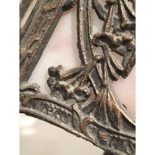 Art Nouveau Deco Slag Glass Lamp - Image 2 of 10