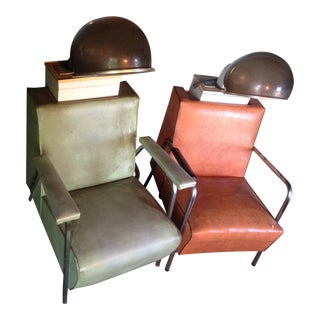 Vintage Salon Bubble Dryer Chairs - A Pair For Sale