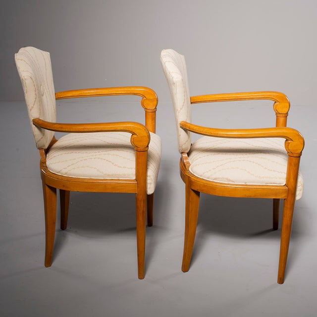French Pair French Bridge Chairs With Beech Frames and New Upholstery For Sale - Image 3 of 10