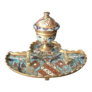 Vintage French Champleve Enameled Inkwell With Hinged Lid For Sale