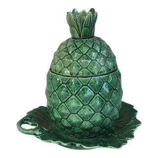 Green Majolica Pineapple Tureen Circa 1880 For Sale