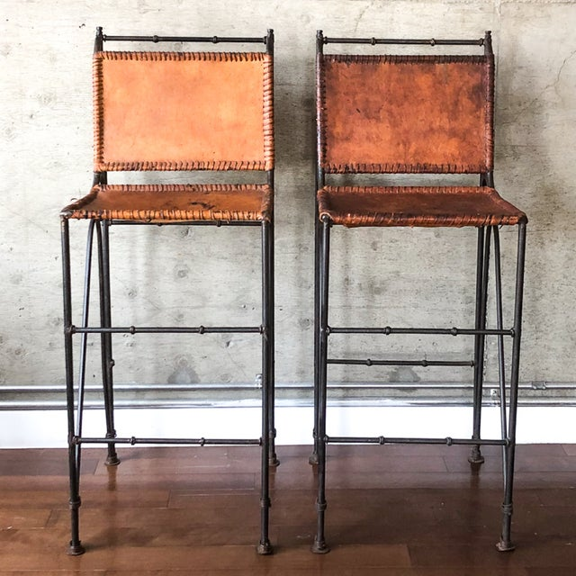 Metal 1970s Vintage Iron & Leather Brutalist Bar Stools by Ilana Goor (2 Available) For Sale - Image 7 of 7