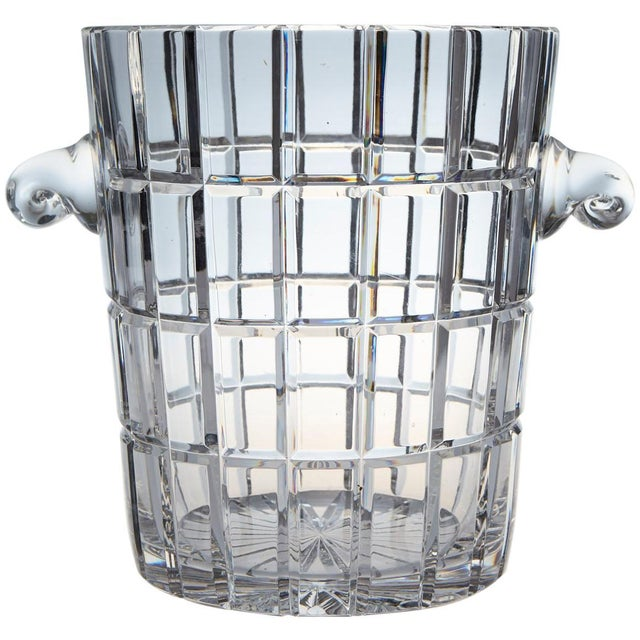 French Cut Crystal Wine Cooler or Champagne Ice Bucket With Handles, Circa 1960s For Sale - Image 9 of 9