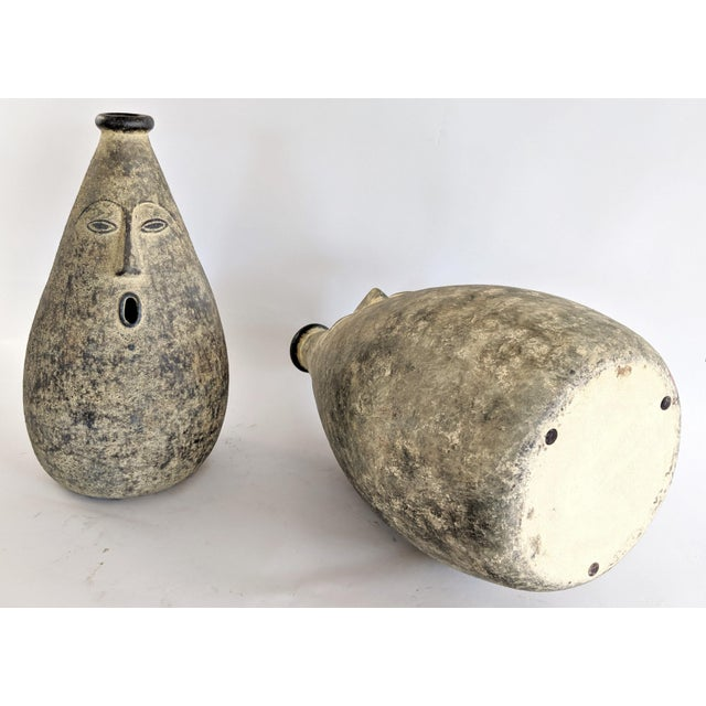 Large Whimsical Ceramic Stoneware Face Vessels - a Pair For Sale - Image 9 of 12