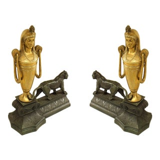 French Empire Bronze Panther Andirons For Sale