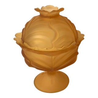 Fenton Amber Cabbage Leaf Frosted Satin Glass Candy Dish For Sale