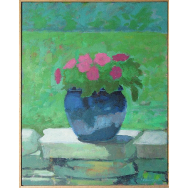 """""""Pink Petunia"""" Contemporary Floral Still Life Acrylic Painting by Anne Carrozza Remick, Framed For Sale"""