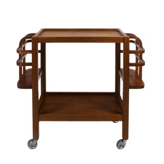 1940s Waxed Solid Mahogany Bar Cart, Bottles Holder, High Quality, France For Sale