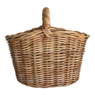Boho Wood Woven Basket For Sale