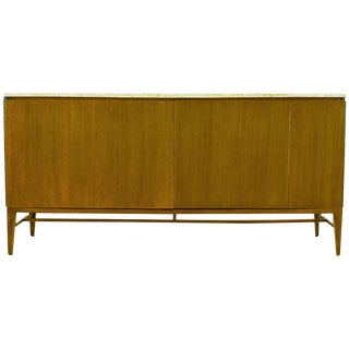 Paul McCobb for Calvin Mahogany and Travertine Dresser With Dual Tri-Fold Doors For Sale