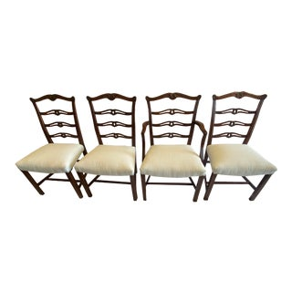 """Chippendale Carved Mahogany """"Ribbon-Back"""" Dining Chairs, Set of 4 For Sale"""