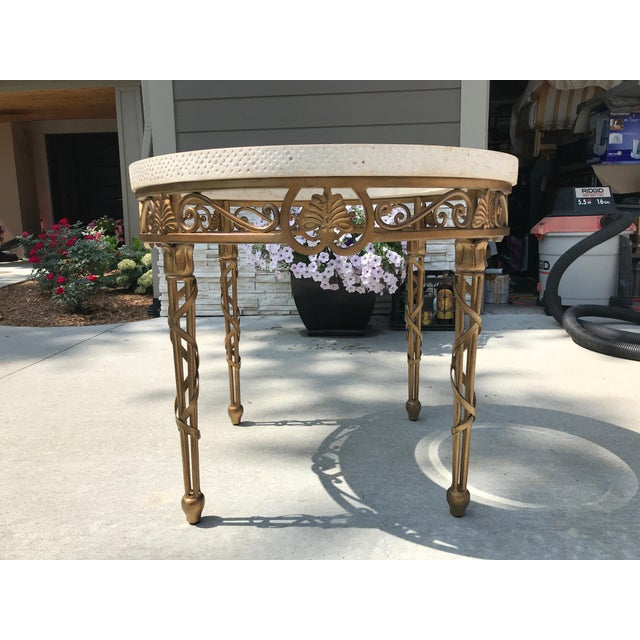 Traditional Traditional Drexel Heritage Marble, Metal, and Glass Lamp Table For Sale - Image 3 of 8