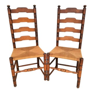 Vintage Rustic French Farmhouse Ladder Back Dining Accent Rush Seat Chairs- Set of 2 For Sale