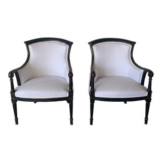 Late 20th Century Vintage Gold and Black Chairs- A Pair For Sale