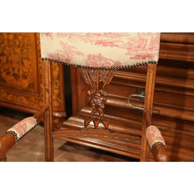 Late 19th Century 19th Century French Louis XVI Carved Walnut Chauffeuse Chair With Vintage Fabric For Sale - Image 5 of 10