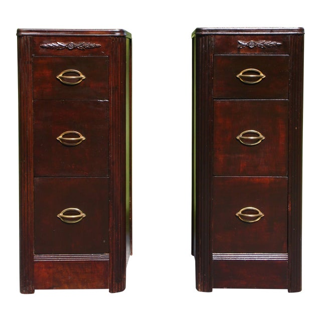 Antique Pair Art Deco Walnut Nightstands End Tables Bedroom Stands For Sale