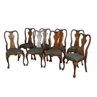 Antique Set of 8 Custom Quality Drake Foot Queen Anne Dining Chairs For Sale