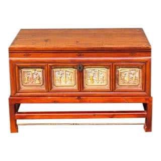 Late 19th Century Carved Chinese Box on Stand For Sale