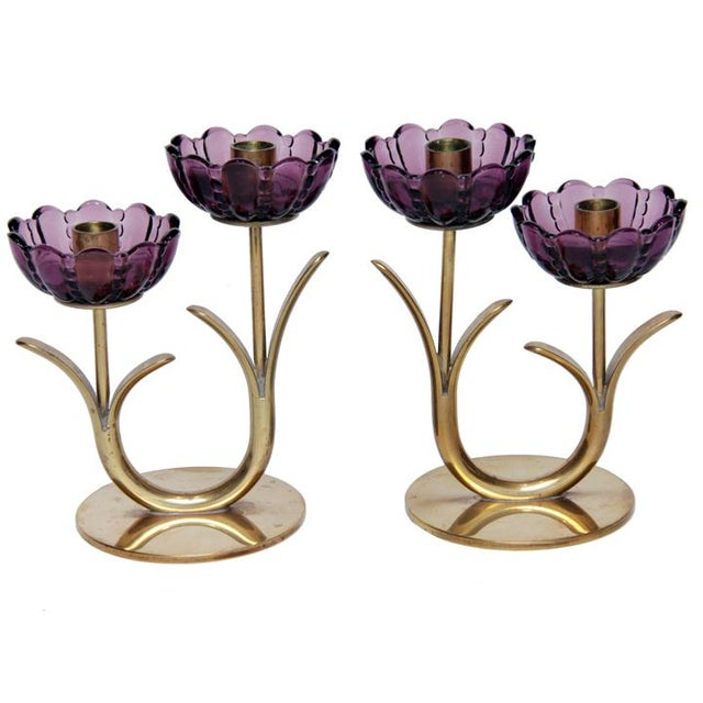 1940s Swedish Modern Brass and Glass Flower Candlesticks- a Pair For Sale In Chicago - Image 6 of 6