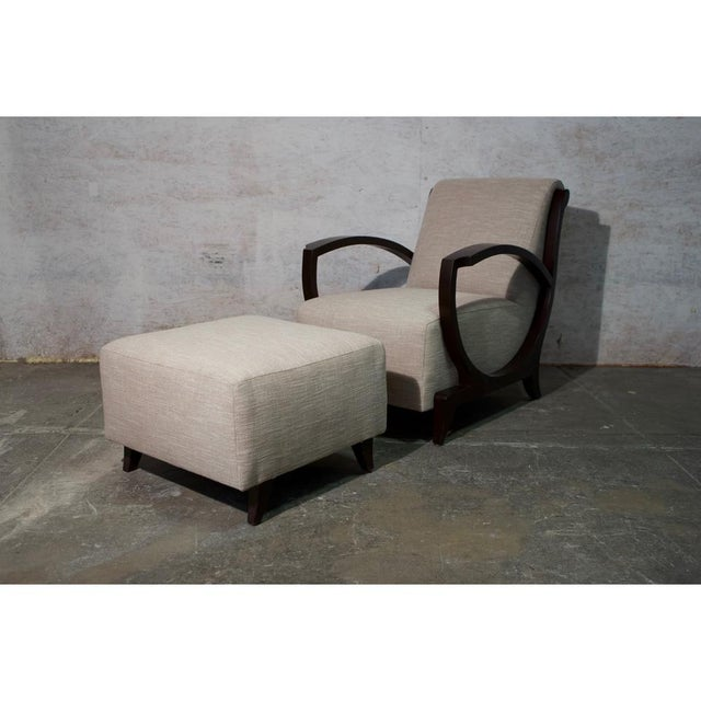 Mahogany Art Deco Club Chair and Ottoman (two available) Price is 2500.00 each set