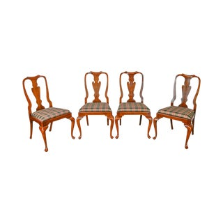 Henkel Harris Set of 4 Solid Cherry Queen Anne Dining Chairs