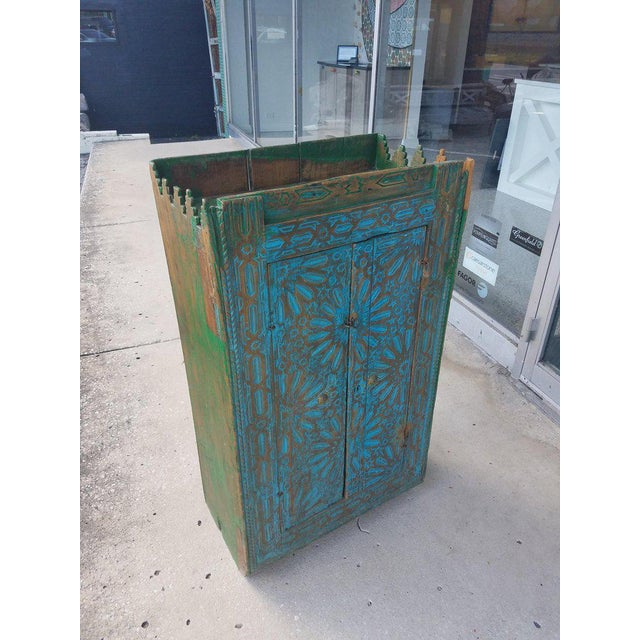 English Antique Moroccan Turquoise Wooden Cabinet For Sale - Image 3 of 7