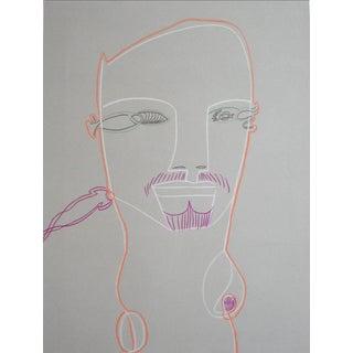 Michael DI Cosola Surrealist Portrait of a Man in Graphite & Pastel, Circa Late 20th Century For Sale