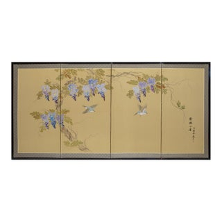 "1960s Chinese Silk Scree, ""Wisteria and Small Birds"" For Sale"
