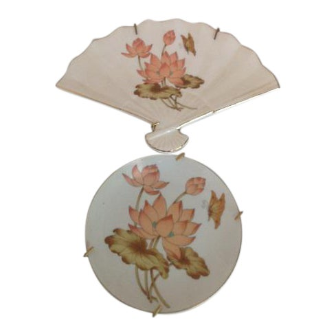 Vintage Fine China Lotus Fan- Shaped Trinket Dish & Collectible Plate - A Pair For Sale