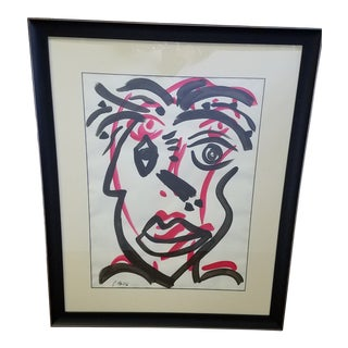 Large Pink and Black Framed Abstract Acrylic Portrait on Paper by Peter Keil For Sale