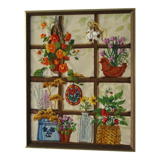Vintage Window Garden Framed Embroidery Art