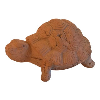 Vintage Terra Cotta Turtle Garden Sculpture For Sale