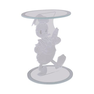 Bolaé Disney Donald Duck Etched Glass Side Table For Sale
