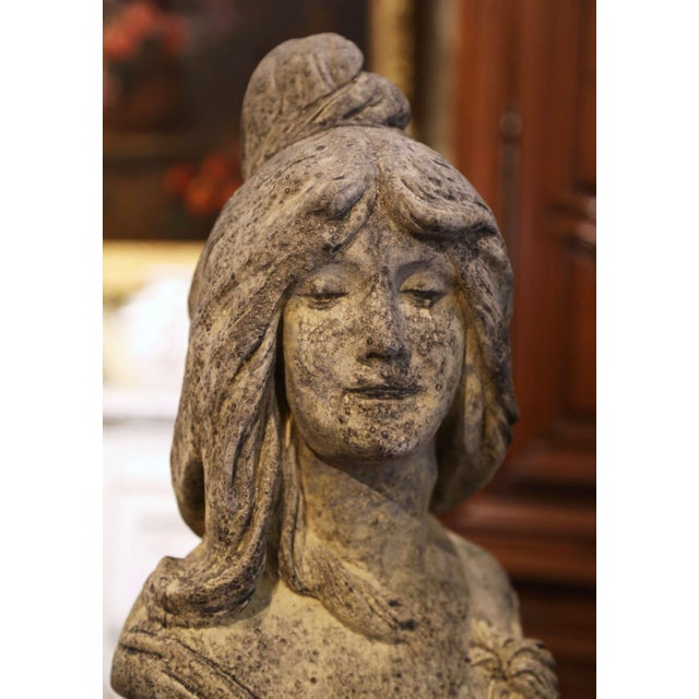 Figurative Early 20th Century French Weathered Cast Stone Garden Statuary Female Bust For Sale - Image 3 of 13
