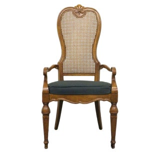 Late 20th Century Vintage Drexel Heritage Marchesa Collection Cane Back Dining Arm Chair For Sale