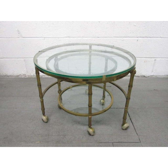 Brass Faux Bamboo Nesting Tables For Sale - Image 4 of 4