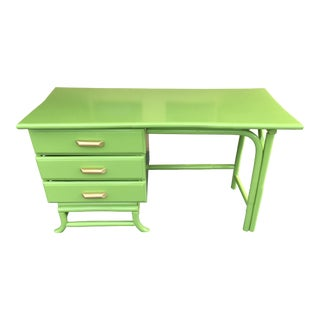1960s Mid Century Rattan Lacquered Light Green Writing Desk For Sale