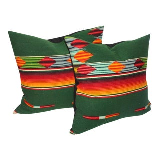 Pair of Mexican Handwoven Serape Pillows For Sale