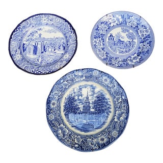 Group of Three Blue and White Plates For Sale